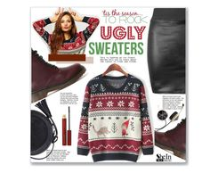 """""""Rock that Ugly Sweater"""" by mycherryblossom ❤ liked on Polyvore featuring Kevyn Aucoin and Frends"""