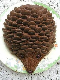 igel aus schokolade - kindergeburtstagskuchen