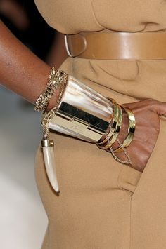 camel & leather w/a Brioni arm cuff + gold bangles- chic