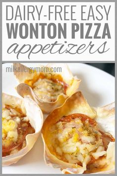 Easy wonton pizza cups! Dairy-free recipe at Milk Allergy Mom. Kid approved. Dairy Free Pizza, Dairy Free Milk, Dairy Free Recipes, Dairy Free Appetizers, Appetizers For Kids, Pizza Cups, Wonton Cups, Milk Allergy, Lunch Snacks