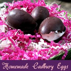 """Must make! Homemade """"Cadbury"""" Eggs with real ingredients and no refined sugar! Recipe from Primally Inspired. www.PrimallyInspired.com"""