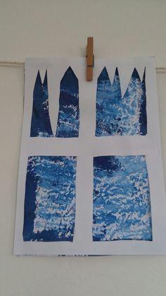 Zimní okno - muchlaný papír,brilantní barvy