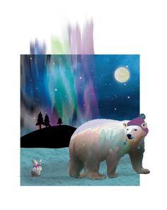 Nursery art. Polar bear art. Bunny Rabbit. Northern lights art. Moon stars. North Woods. Adoption ar