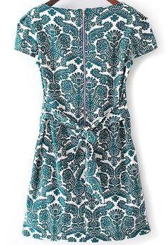 Green Short Sleeve Rockabilly Peasant Floral Bow Camo Slim Dress -SheIn(Sheinside) Mobile Site