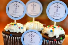 First Communion cupcake toppers - favor tags - Boy - Blue Ornate Silver Cross - Confirmation - PRINTABLE - DIY. $7.00, via Etsy.