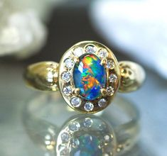 GEM OPAL TRIPLET SILVER G/P RING SIZE  6   CK18 bright triplet opal ring