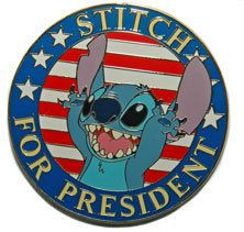 """Disney Auctions Pin Stitch for President Le """" Brand New"""" 