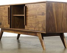 Solid Walnut Media console - TV console - Mid century modern TV stand - Modern TV console - Credenza -Record storage - The BlackMo