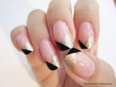 Black gold and nude nail art