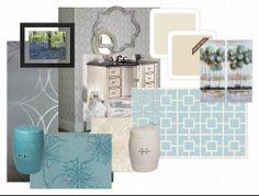 Bathroom, aqua, grey, garden stool