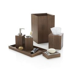 Eco-friendly bamboo goes at right angles as clean-lined, natural bathroom accessories. Each beautifully crafted piece glows with a warm grey finish.