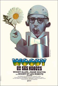 Woody Allen's Sleeper (1973) starring Woody Allen & Diane Keaton — French Film Poster