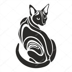 Египетские канадских сфинксов черный кот опасных зло ищет тату векторной графики