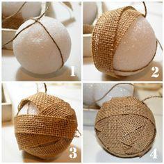 burlap ball ornament tutorial