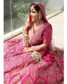 Pink Bridal Lehenga, Pink Lehenga, Sikh Wedding, Punjabi Wedding, Indian Wedding Photos, Indian Bridal Hairstyles, Indian Bridal Makeup, Wedding Function, Bridal Outfits