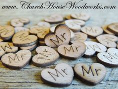 500 Wood Burned Heart Confetti - Mr, Mrs, Bride, Groom, Love ...