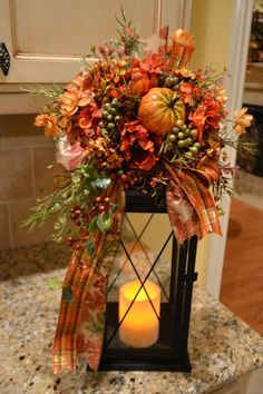 Fall Pumpkin Lantern Swag by kristenscreations on Etsy, $38.00