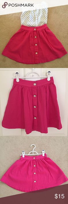Pink A-Line Skirt Pink high-waisted A-line skirt with shiny buttons. Skirts A-Line or Full
