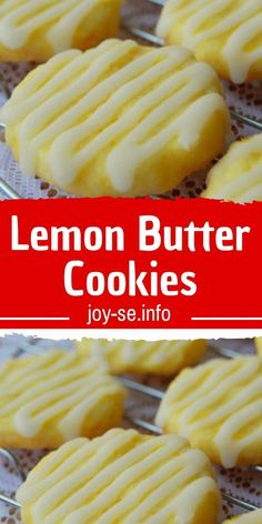Lemon Butter Cookies - Citrus fruits are at their seasonal peak during the darkest and coldest part of the year (now), and these Lemon Butter Cookies are just the ticket to remind me that summer, okay spring, is okay weeks away. Lemon Desserts, Lemon Recipes, Köstliche Desserts, Sweet Recipes, Baking Recipes, Dessert Recipes, Homemade Desserts, Yummy Cookie Recipes, Grandma's Recipes