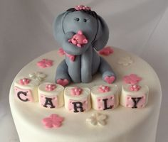 ELEPHANT Fondant CAKE TOPPER and letter name blocks and flower first birthday Baby Shower Welcome Baby Edible Safari animals Jungle. $35.00, via Etsy.