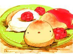 ウクライナのチーズケーキ。生地をフライパンで焼き、サワークリームとジャムをかけて食べます。 ●「に。」発売まであと10日!  http://urx.nu/aiBq