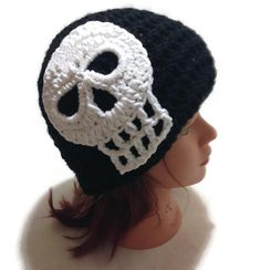 Crochet Skull Beanie Hat in Black and White by AddSomeStitches #HEPteam