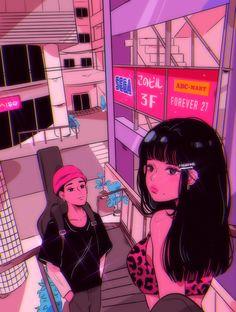 Arte Do Kawaii, Kawaii Art, Art Anime, Anime Art Girl, Aesthetic Art, Aesthetic Anime, Desenho New School, Arte Indie, Japon Illustration
