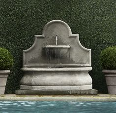 Andalusia Wall Fountain by Restoration Hardware Outdoor Wall Fountains, Garden Water Fountains, Stone Fountains, Pool Fountain, Fountain Garden, Fountain Ideas, Fountain Design, Les Cascades, Water Features In The Garden