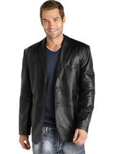Leather Hubb Blue Leather Blazer for Men Slim Fit
