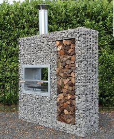 A pleasant garden design. Outdoor Fire, Outdoor Living, Outdoor Decor, Gabion Wall, Diy House Projects, Diy Wood Projects, Fire Pit Backyard, Pergola Designs, House In The Woods