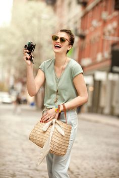 garance dore for petit bateau... green tee + basket bag + camera + french insouciance