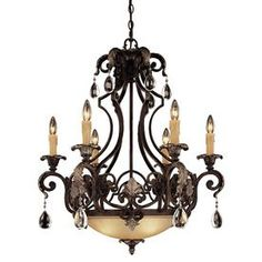 Shandy 28-In 6-Light Moroccan Bronze Clear Glass Candle Chandelier 201