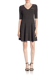 MILLY - V-Neck Fit-And-Flare Dress