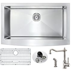 Anzzi Elysian Farmhouse 32-inch Single Bowl Kitchen Sink and Locke Brushed Nickel Faucet Set