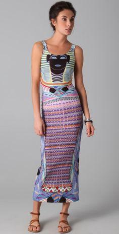 Mara Hoffman Tut Print Maxi Dress in Purple (pink)