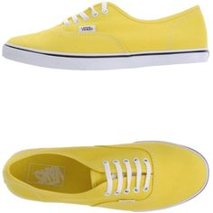 Vans Low-Tops & Trainers ($47) ❤ liked on Polyvore featuring shoes, sneakers, vans, flats, zapatos, yellow, yellow flat shoes, flat shoes, round toe shoes and vans footwear
