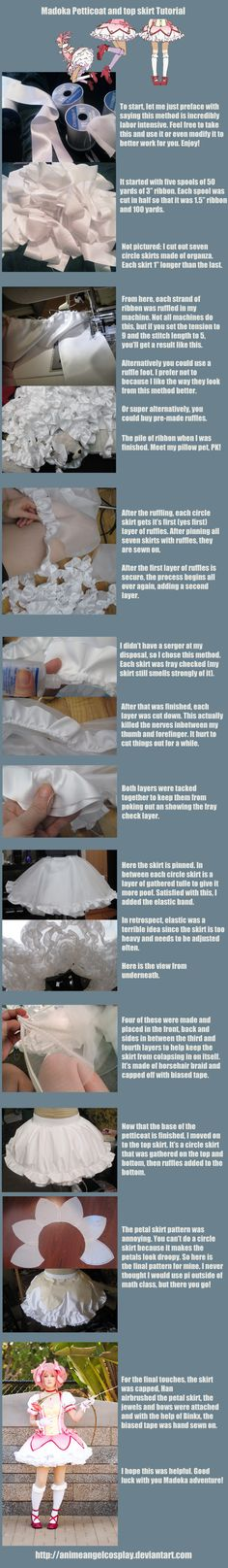 Madoka Petticoat Tutorial by *RuffleButtCosplay on deviantART - but I think I can use this for Weiss because it definitely looks like she has some intense petticoat action goin' on.