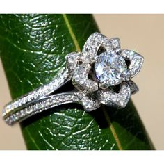 UNIQUE Flower Rose Diamond Engagement Ring ($5,150) ❤ liked on Polyvore