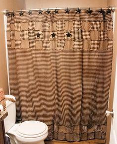 Burlap Vintage Lt Tan Soft Cotton Primitive Country Cabin Bath Shower Curtain