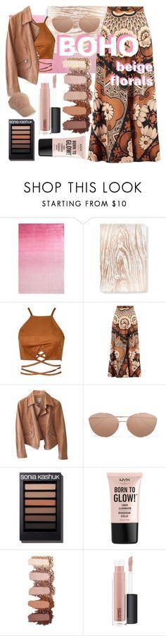 """beige boho florals"" by pianogirl7890 ❤ liked on Polyvore featuring Designers Guild, Fringe, Valentino, Armani Collezioni, Linda Farrow, NYX, MAC Cosmetics and rag & bone"