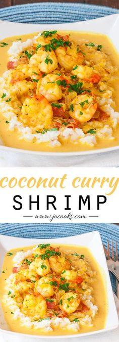 "Coconut Shrimp Curry - Serve with Cauliflower ""Rice"" and coconut oil to make Paleo! #paleo #grainfree #glutenfree"