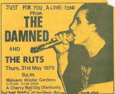 Flyer for The Damned & The Ruts at Malvern Winter Gardens, 1979.
