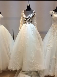 Illusion long sleeves serenity blue wedding dress#something blue#lace dress