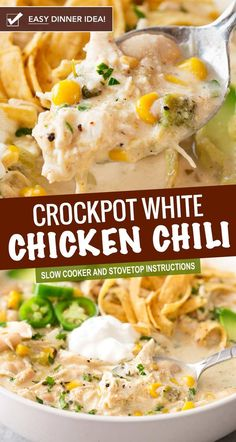 This contest-winning crockpot white chicken chili is made easy in the slow cooker and has just the right amount of spice to warm up your night chickenchili whitechickenchili chili chicken easyrecipe dinner comfortfood slowcooker crockpot Creamy White Chicken Chili, Crockpot White Chicken Chili, Easy Crockpot Chili, Cream Cheese Chicken Chili, Crockpot Ideas, Crockpot Dishes, Crock Pot Cooking, Potatoes Crockpot, Crock Pots