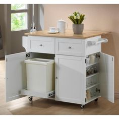 Coaster 900558 Kitchen Cart With Spice Rack And Trash Cabinet In White - Main Image