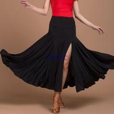 Latin Salsa Tango Rumba Cha cha Square Ballroom Dancewear Skirt Black Slit Dress | Clothing, Shoes & Accessories, Dancewear, Adult Dancewear | eBay!