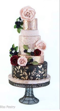 Multi-Layered, Textured and Colored Rose Wedding Cake