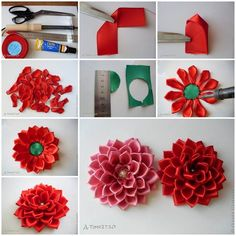 """DIY Satin Ribbon Dahlia Petals There+are+many+creative+ways+to+make+a+beautiful+fabric+flower.+I+have+featured+a+couple+of+these+projects+on+my+site.+If+you+are+interested,+you+can+search+for+them+using+the+keyword+""""ribbon"""".+Today+I+am+excited+to… Diy Ribbon Flowers, Ribbon Flower Tutorial, Satin Ribbon Flowers, Cloth Flowers, Kanzashi Flowers, Ribbon Art, Fabric Ribbon, Ribbon Crafts, Flower Crafts"""