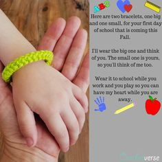 Free Printable, Crochet Bracelet Pattern, and Video tutorial for these Mommy and Me or Daddy and Me or Guardian and Me 1st day of school bracelets! #crochetverse