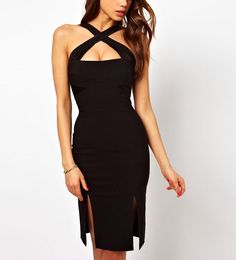 Cross Straps Side Slits Sexy Black Party Dress